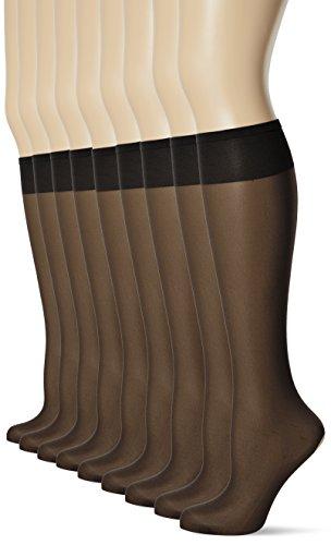 POMPEA Classico 20 Den Calze al ginocchio, Nero (Nero 0071), Taglia Unica (Pacco da 10) Donna