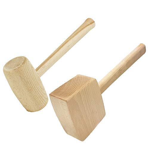 2-teilig SET Holzhammer Rund + Rechteck Schreiner Klüpfel Schreinerhammer Klopfholz Holz Hammer