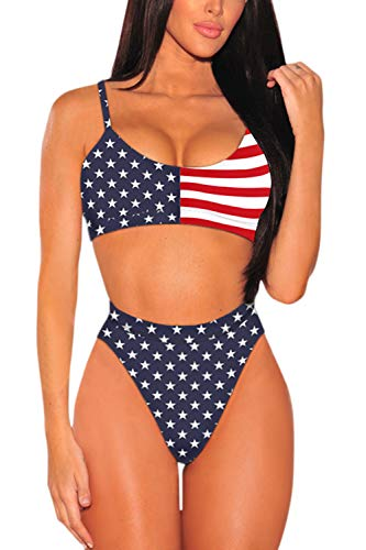 Pink Queen Women's Push Up Pad High Waisted Cheeky 2 Pieces Bikini Set US Flag S