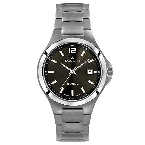DUGENA Herren-Armbanduhr 4460531, Quarz, schwarzes Zifferblatt, Titangehäuse, Saphirglas, Titanarmband, Drückerfaltschließe, 5 bar