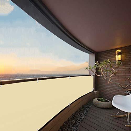 Aiyaoo Balkon Sichtschutz Blickdicht 85x850cm Windschutz Wasserdicht Blickdicht Balkonbespannung Wetterfest mit Ösen Nylon Kabelbinder Kordel für Balkon Terrasse Beige