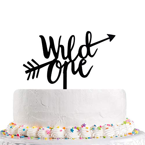 Wild One With Arrow Cake Topper - First Birthday Cake Toppers -Black Happy Birthday Baby Shower Party Decorations Supplies