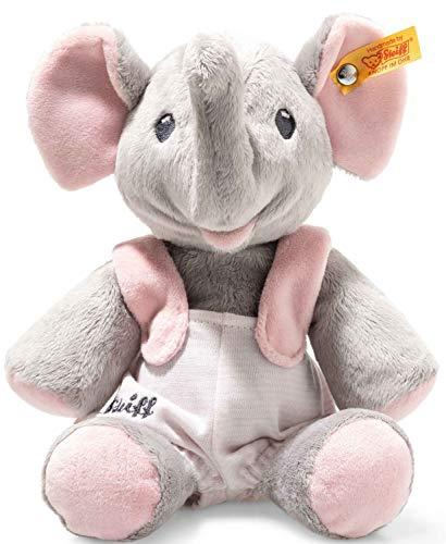 Steiff Trampili Elefant - 24 cm - Plüschelefant sitzend - Kuscheltier für Babys - weich & waschbar - grau/rosa (241666)