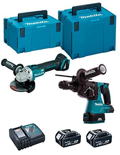 MAKITA DLX2125TJ1 Kit Combo DGA504Z+DHR243Z+DC18RC+BL1850Bx2, 18V 5,0Ah, 18 W, 18 V, Negro