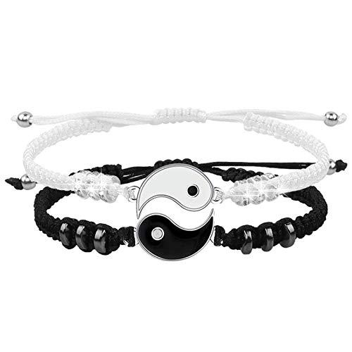 Pulseras de mejor amigo para 2 Yin Yang pulsera de cordón ajustable para BFF relación de amistad novio novia (Plata)