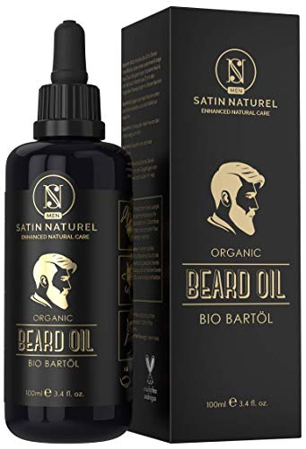 VINCITORE 2019* L'Olio da Barba BIOLOGICO Vegano - 2 VOLTE PIÙ GRANDE 100ml in Vetro Viola - Nutriente per la Barba - Solo Oli Naturali, Senza Additivi - Idea Regalo per Uomo - Made in Germany