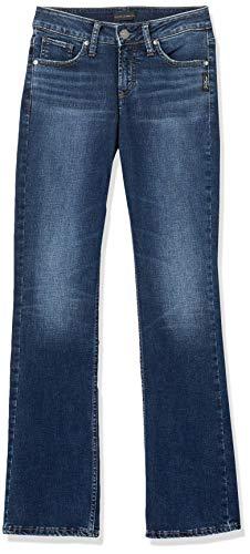 Silver Jeans Co. Damen Suki Curvy Fit Mid Rise Slim Bootcut Jeans, Vintage Dark Wash, 27W x 33L