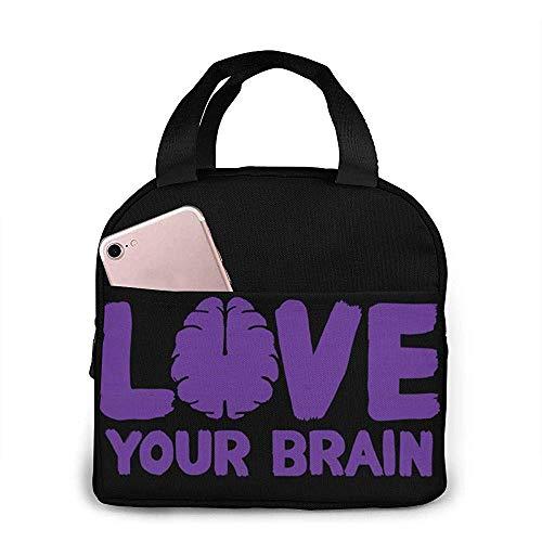 Yuanmeiju Bolsa de almuerzo, Love Your Brain Reutilizable Tote Bolso portátil Bento Box, Comida caliente y fresca