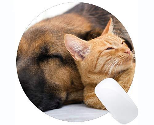Runde Gaming-Mausunterlage aus Naturkautschuk, bedruckt mit katzengenähten Haustier-Schlafhunden