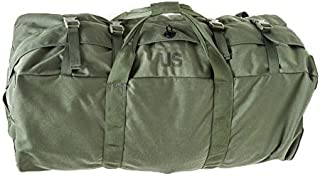 NEW US Army Military Camo Camouflage Tactical Foldable Deployment Luggage DUFFLE FLIGHT SEA Cargo BAG Back Pack Olive Drab OD Green with Compression Straps by US Goverment GI USGI