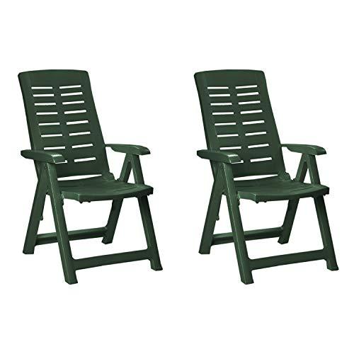 Mojawo 2 STK. Bequeme Klappstühle, Campingsessel für Camping, Terrasse, Garten und Balkon - 5-Fach Verstellbarer Gartenstuhl - witterungsbeständiger Positionssessel - Grün