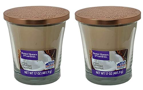 professional Better Homes Gardens Scented Candle 17oz, 2 pairs of creamy Tahitian coconut