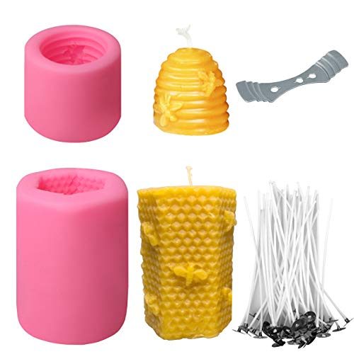 2 Pack Bee Honeycomb Candle Mould, 50 Roots Low Smoke Candle Wicks and 1pc Metal Holder, Beehive Silicone Mould for Making Beeswax Candles