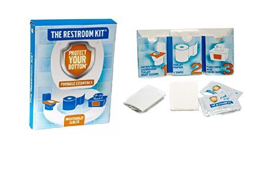 TimeAway LLC The Restroom Kit Great for Travel (12-Pack) Portable Disposable Oversized Toilet Seat Cover, 3ft 3Ply Toilet Paper, Hand & Flushable Tush Wipe.