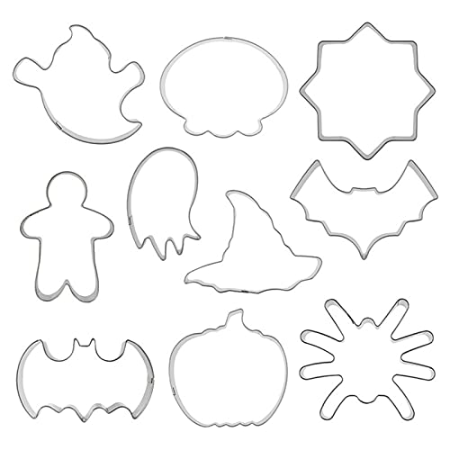 Halloween Cookie Cutters, Stainless Steel Biscuit Cutters Set, Metal Cookie Molds Pumpkin Spider Web Ghost Bat Skull Cat Witch Hat Shapes Cookie Cutters for Christmas Thanksgiving Holiday Decor10 PCS