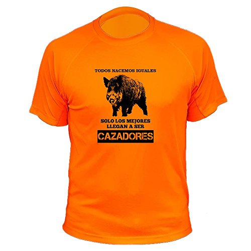 Camisetas Personalizadas de Caza, Todos nacemos Iguales, Ideas Regalos, Verraco (30142, Naranja, S)