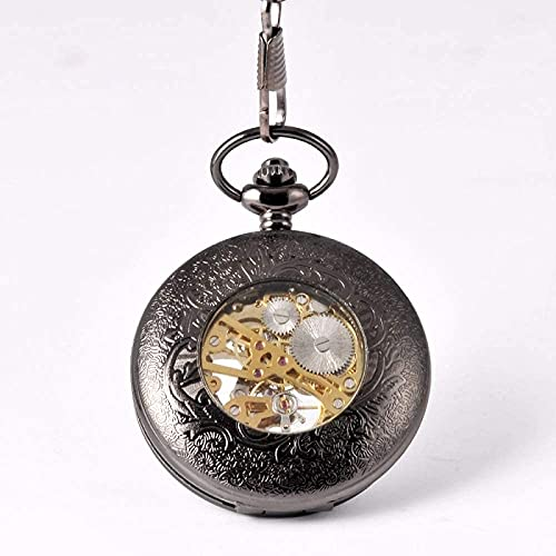 LITINGT Reloj de Bolsillo Clásico Negro Steampunk Esqueleto mecánico Reloj de Bolsillo Antiguo para Hombres con Cadena de Cintura Reloj de Bolsillo Cadena Reloj para Hombres (Color: Negro)
