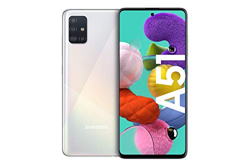 Samsung Galaxy A51 Android Smartphone ohne Vertrag, 4 Kameras, 6,5 Zoll Super AMOLED Display, 128 GB/4 GB RAM, Dual SIM, Handy in weiß, deutsche Version