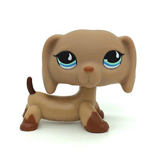 Littlest Pet Shop #518 Puppy Dog Dachshund Tan Brown w/ Blue Teardrop Eyes LPS