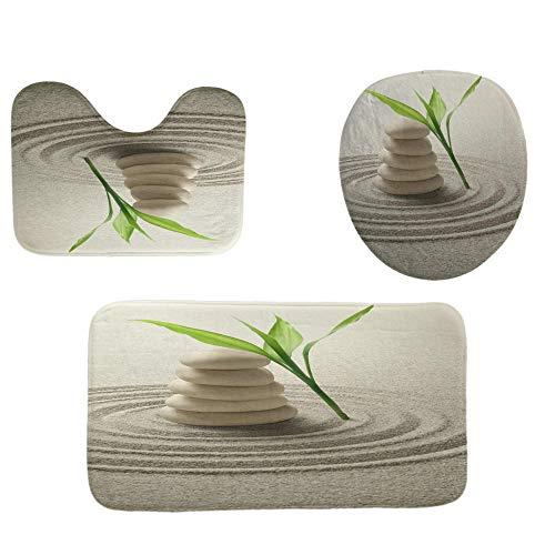 ZXYLSL Home 3 Pieza Antideslizante Zen Baño Mat Set (Baño Alfombra Alfombra + Pedestal + Cubierta de Asiento de Inodoro)