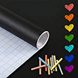 PROHOUS Sticker Tableau Noir Ardoise -45x200cm Effaçable Autocollant Mural Réutilisable avec 10 Craies Offerts pour l'Ecole/Bureau/Accueil(Noir)
