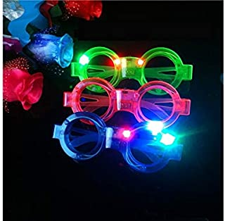 Christmas Party Glow Circle Shape Glasses Christmas Ornaments Glasses Frames Evening Party Toy Xmas Gifts Decoration(Random)