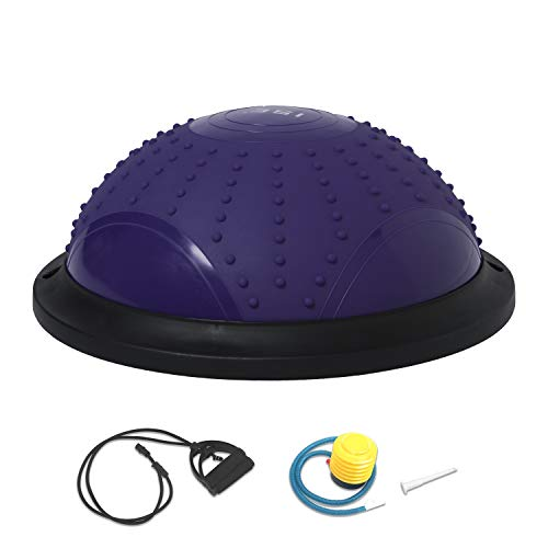 ISE Ø46 cm Balance Trainer Balance Ball Trainingshalbball mit Pumpe und 2 Zugbändern beidseitig nutzbar für Yoga Gymnastik,GS-geprüft (Purple)