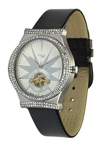 Moog Paris Open Hearth Reloj para Mujer con Esfera Blanca, Correa Negra de Piel Genuina y Cristales Swarovski - M45242-101