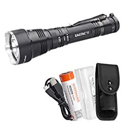 LONG THROW FLASHLIGHT - EagleTac EAGTAC S25V is capable of a 1200 lumen cool white beam capable of 724 yards of beam throw. HIGH CAPACITY BATTERY INCLUDED - S25V comes with a 5000mAh 21700 battery that boasts runtimes of 250 hours on low mode, with u...