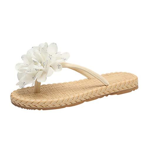 Dasongff Damen Zehentrenner Pantoletten Flache Flip Flops Sandalen mit Blumen Bunte Sommerschuhe Freizeit Weich Strandsandalen