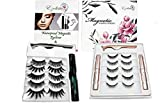 Fake Eyelashes Set (5 Pair) with Magnetic Eyeliner, Tweezer & Storage Box with Mirror You can Zoom IN & Out to see the different. Natural Looking, Soft & Reusable - Waterproof & Sweatproof