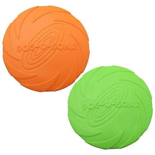 TUAKIMCE Hunde Frisbees,Hund Scheibe, 2 Stück Hundespielzeug Frisbee Gummi Frisbee Ø 18cm Hunde Scheibe für Land und Wasser, Hundetraining, Werfen, Fangen & Spielen (Grün + Orange)