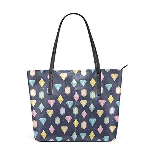 NR Multicolour Fashion Damen Handtaschen Schulterbeutel Umhängetaschen Damentaschen,Grafische Edelsteine mit verschiedenen Formen Billionen Tropfen und Marquise Schnittmuster