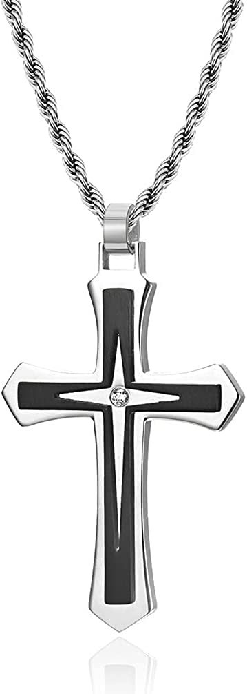 JO WISDOM Cross Necklace 316L Stainless Steel Titanium Steel Cross Crucifix Pendant Cross Religious Jewelry for Men and Women with Pearl Chain