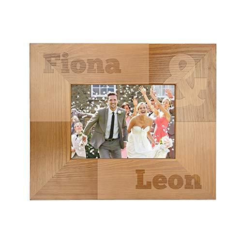 Casa Vivente Bilderrahmen mit Gravur zur Hochzeit, Personalisiert mit Namen, Rahmen aus Holz, Liebesgeschenke