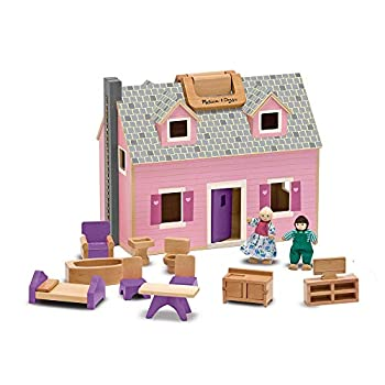 Melissa & Doug Fold and Go Wooden Dollhouse With 4 Dolls and Wooden Furniture