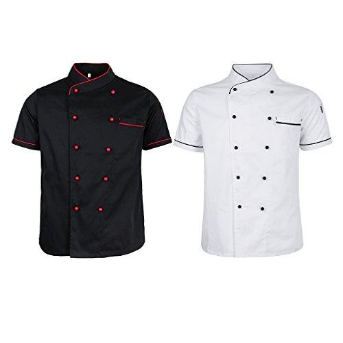 dailymall 2er Pack Herren Damen Kurzarm Kochjacke Bäckerjacke Arbeitsjacke Hotel Uniform Küche Berufsbekleidung Knöpfe Chef Jacke Shirt Schwarz/Weiß