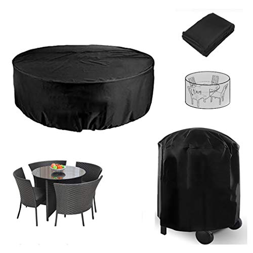 LDGF Furniture Set Covers Round Patio Table & Chair Set Cover Outdoor Oversized Club Chair Cover Sectional Furniture Set Cover,Black (Size : 227100CM)