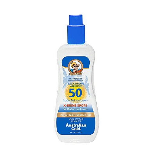 Australian Gold X-treme Sport Spray Gel Sunscreen SPF 50, 8 Ounce | Broad Spectrum | Water Resistant