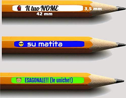 AWS 80 Mini Etichette Adesive LE UNICHE PER MATITE ESAGONALI Misure 42 x 3,5 mm scuola Personalizzate Nome e logo adesivi per quaderni e materiale scolastico pastelli penne