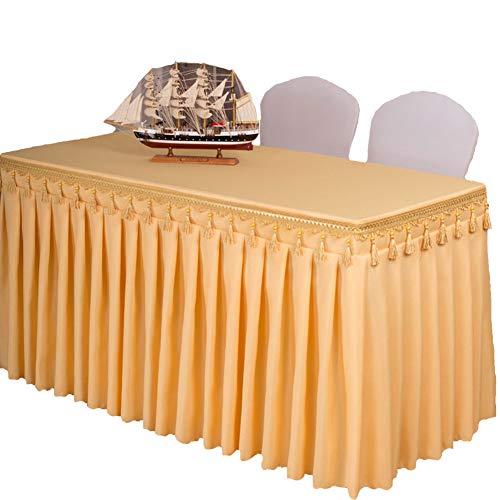 ISSHE Mantel del Poliester Color Sólido,Falda De Mesa para Hotel Iglesias Y Los Budistas Banquetes Restaurante Tela De Mesa Rectangular Lavable Amarillo M