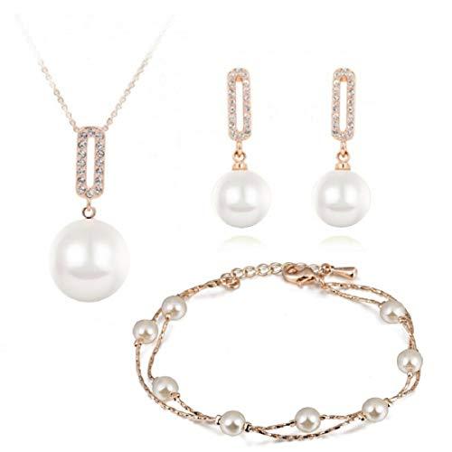 Parure in cristallo Swarovski con perle bianche, collana da 45,7 cm, orecchini a pendaglio e bracciale, placcata in oro 18K