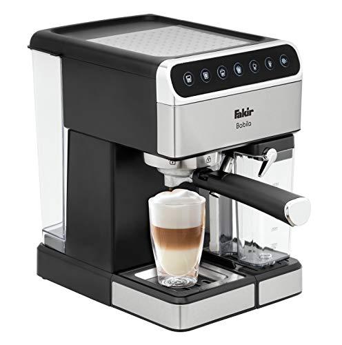 Fakir Babila/Kaffeemaschine mit Touch-Digital-Bildschirm, Espresso-Siebträgermaschine, Milchaufschäumer für Cappuccino und Latte, silber - 1350 Watt