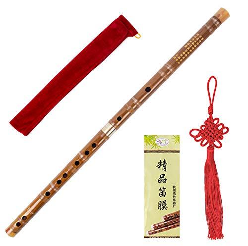 Bambusflöte Dizi Traditionelles handgemachtes chinesisches Musikinstrument für Holzblasinstrumente (Key D)
