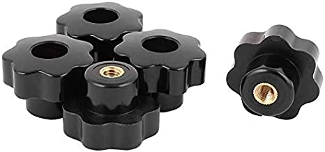 NUTW-53237 10PCS M6 Female Knob Screws M6 X 32mm Female Threaded Star Head Clamping Knob Grip Black Type: Black