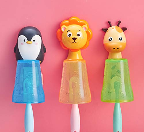 V-Ting Kinder Cartoon Tiere Zahnbürstenhalter Bad Badezimmer Becher Glas Badekugel Halter Halterung Toilette WC Zahnbürste Zahncreme Zahnpasta Zahnputzbecher (Pinguin)