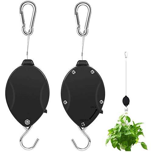 TIHOOD 2PCS Plant Pulley Retractable Hanger Hooks - Hanging Plants Garden Baskets Pots Bird Houses. 5ft Long & 55 lbs Weight Capacity