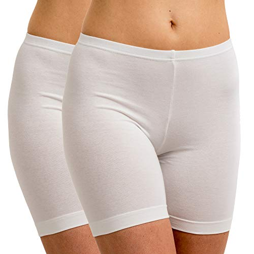 HERMKO 5780 2er Pack Damen Longpant - knielanger Pant, Farbe:weiß, Größe:40/42 (M)