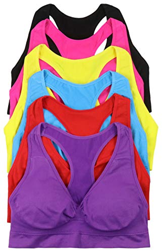 ToBeInStyle Women's 6 Pack Racerback Sports Bras (One Size Plus, Neon Classic)