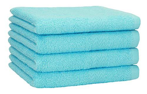 Betz 4 Stück Strandtücher Duschtücher Set Größe 70x140 cm Duschhandtuch Badetuch Strandtuch Handtuch PREMIUM 100% Baumwolle Farbe türkis